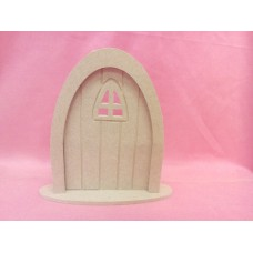4mm MDF Grooved fairy Door Arched window and  base PK5